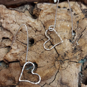 Small Hammered Quirky Wire Heart Earrings handmade by Corzo and Wood