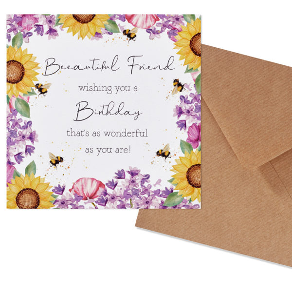 Sunflower Bee Beautiful Friend Birthday Card