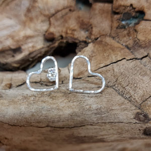 Small Hammered Wire Heart Earrings Handmade by Corzo and Wood