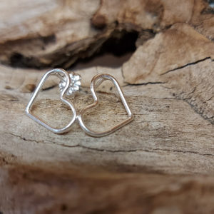 Small Wire Heart Stud Earrings Handmade by Corzo and Wood