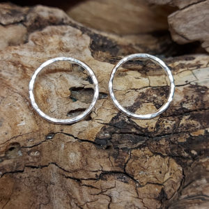 Large Hammered Circle Earrings Handmade by Corzo and Wood