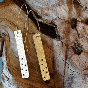 Long Hammered Holey Rectangular Earrings Handmade by Corzo and Wood