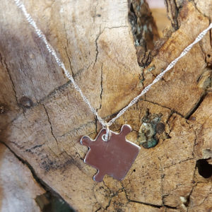 Medium Jigsaw Puzzle Pendant Handmade by Corzo and Wood