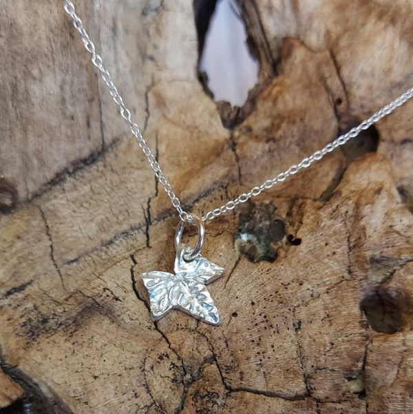 Tiny Ivy Leaf Pendant Handmade by Corzo and Wood