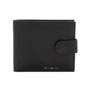 Leather Men's Small Bifold Wallet in Black - Corzo and Wood