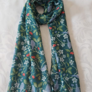 Birds and Berries Print Scarf - Green - Corzo and Wood
