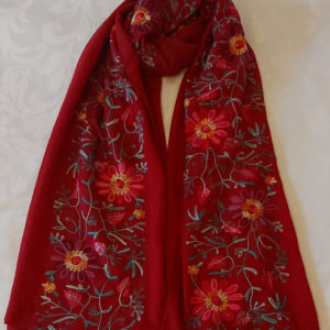 Floral Embroidered Scarf - Corzo and Wood