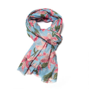 Lilies Powder Blue Scarf - Corzo and Wood