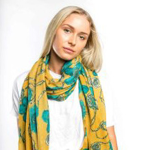 Macy Print Scarf Mustard and Teal - Corzo and Wood