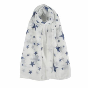 Mixed Star Print Scarf in White - Corzo and Wood