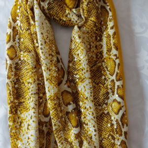 Mustard Snake Print Scarf - Corzo and Wood
