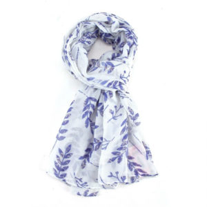 Vines Print Scarf in White - Corzo and Wood