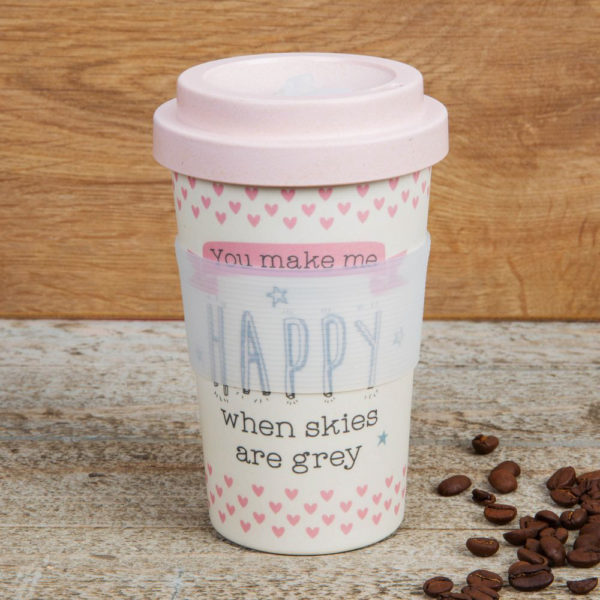 Bamboo Travel Mug - You Make Me Happy - Sold by Corzo and Wood