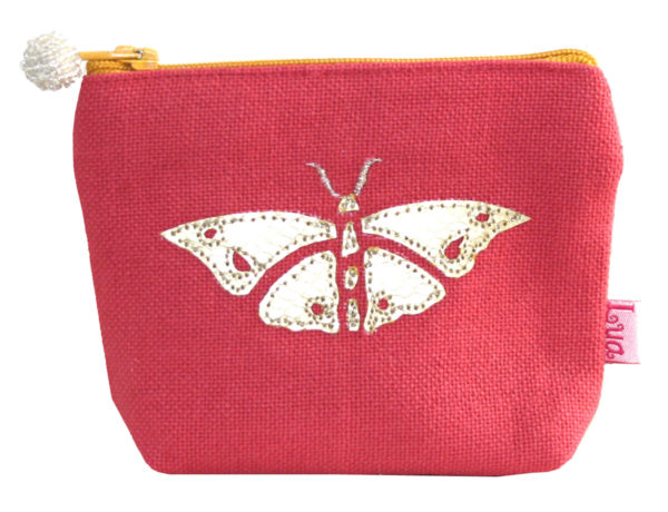 Gold Applique Butterfly Mini Purse in Coral - Sold by Corzo and Wood